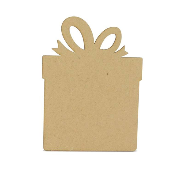 3mm MDF Wooden Present - 12 cm without hanging hole