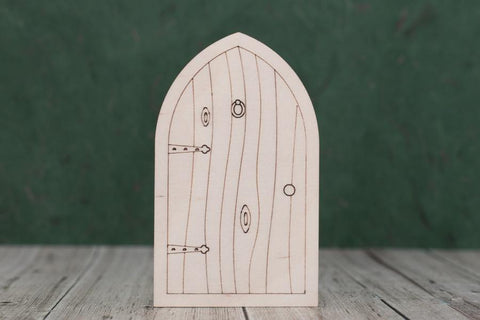 Plywood Fairy Door with etched detail.
