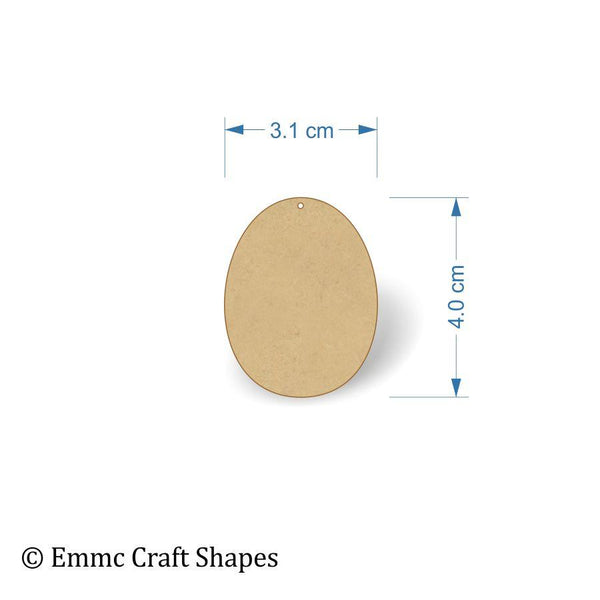 3mm MDF Egg Shape - 4 cm with hanging hole
