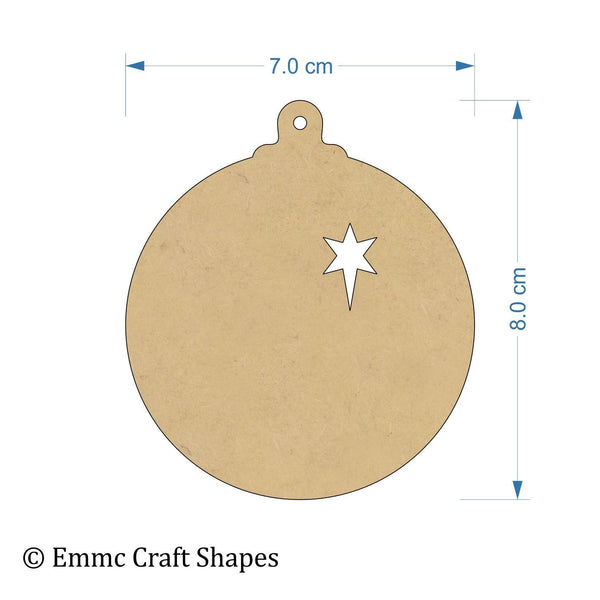 3 mm MDF bauble cut outs with hanging hole and star cut out - 8 cm