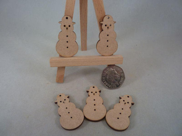3mm MDF Snowmen - 4 cm with hole