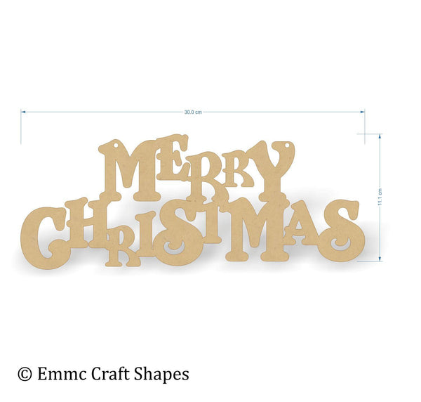 "3mm thick mdf ""merry Christmas"" text. 30 cm wide"