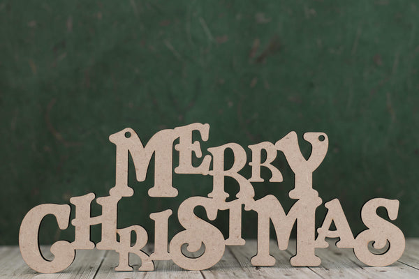 "Laser cut craft text ""Merry Christmas"""