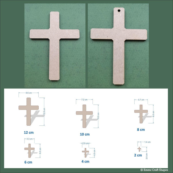 sizes and dimensions of the crosses. Available from 2cm up to 12cm in height