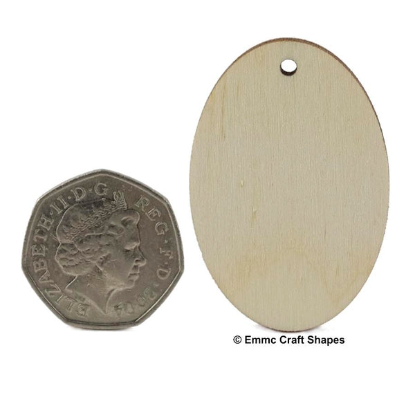 Plywood Oval Key Fob - 5 cm with hanging hole