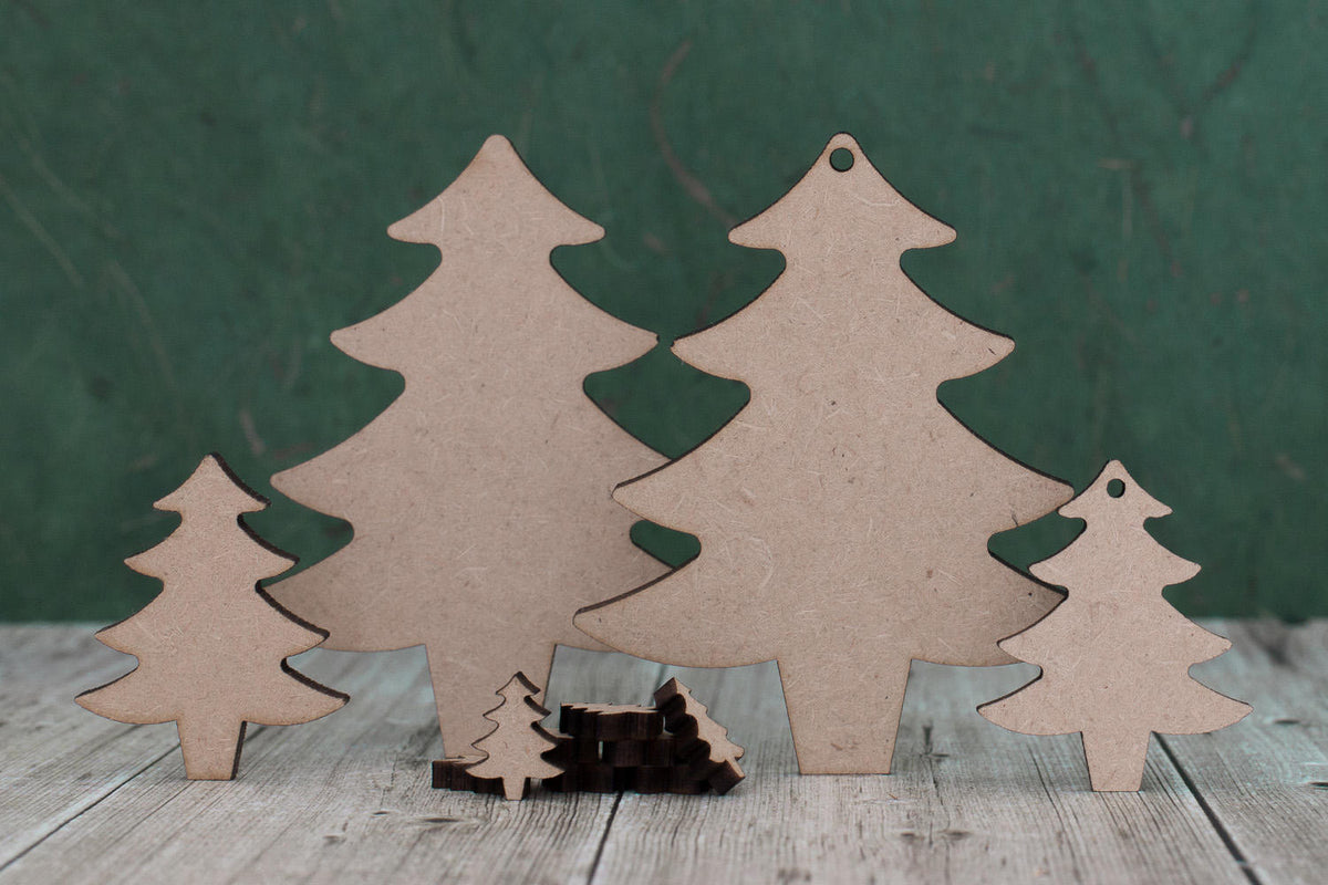 Pack Of 4 Wooden Mdf Baubles For The Christmas Tree 8cm christmas decorations