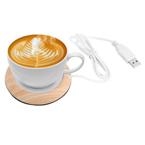 Original USB Wood Grain Cup Warmer Heat Beverage Mug Mat Keep Drink Warm Heater Mugs Coaster