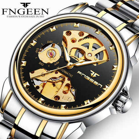 Automatic mechanical watch for Korean business double sided hollowed men's watch waterproof machinery gift Watch
