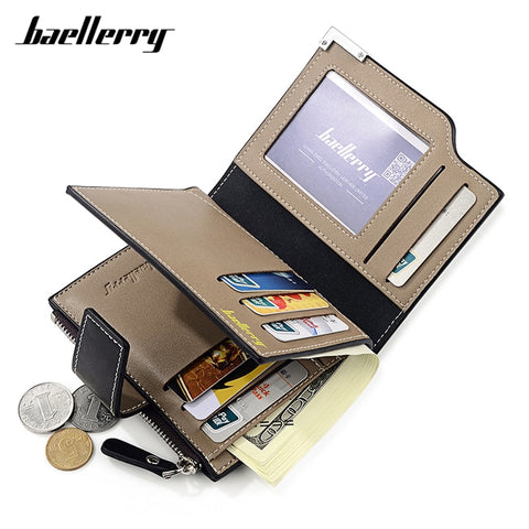 Baellerry Many Departments Men Wallet With Zipper Coin Pocket High Quality Leather Male Wallet Brand Designer Man Short Purse