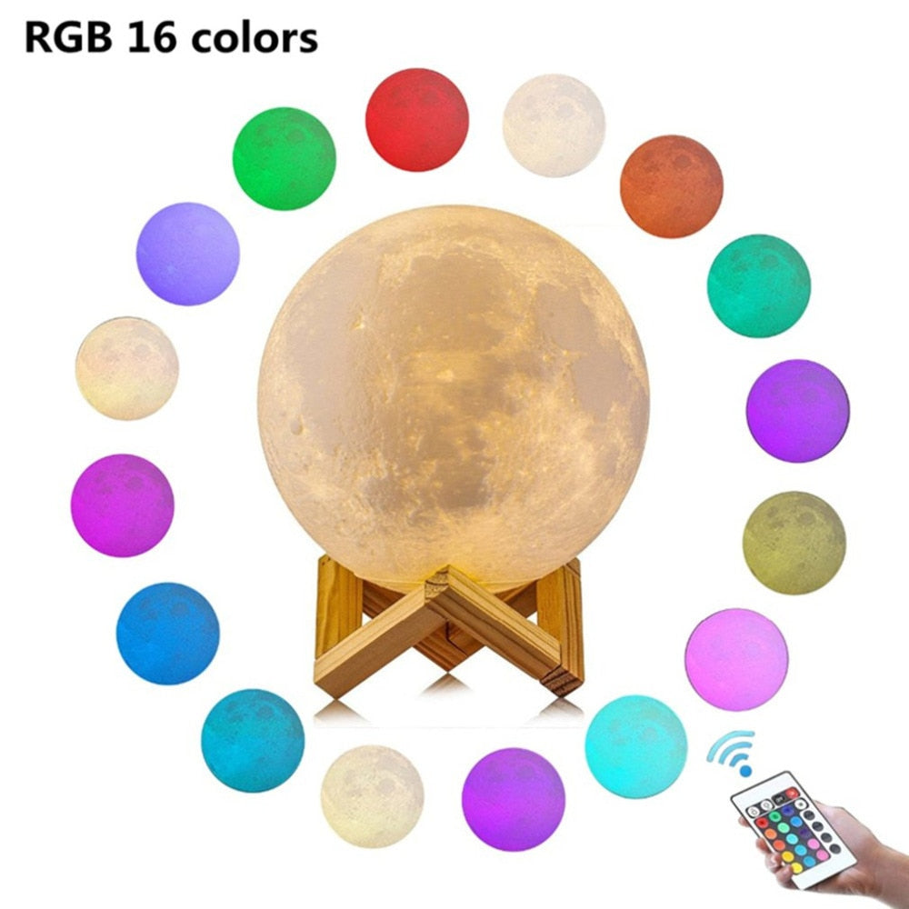 usb light gadgets 16color fashion usb lamp gadgets electronicos Moon LED lamp 250mAh 3D printing technology light dropshipping