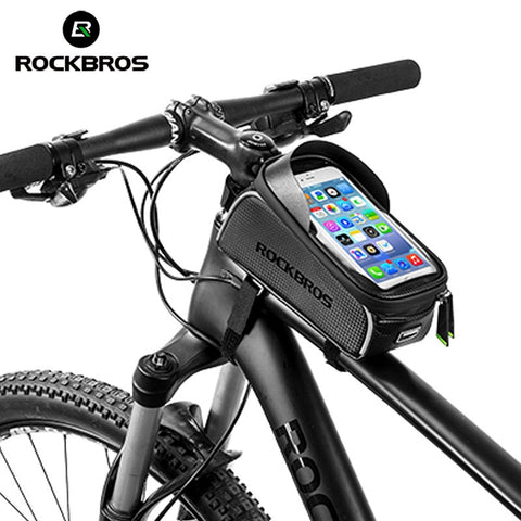 "ROCKBROS Cycling MTB Bike Bicycle Bag 6"" Waterproof Touch Screen Top Tube Frame Saddle Bag Phone Case Bike Bicycle Accessories"