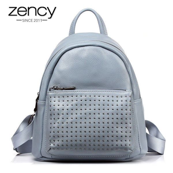 Zency 100% Genuine Leather Holiday Women Backpack With Rivet Preppy Style Schoolbag For Girls Fashion Travel Knapsack Taro Pink