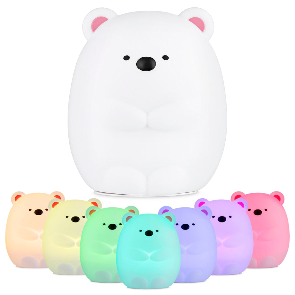 New Baby Bedroom Night Lamp Cute Bear Silicone LED Night Light Color Changing LED Bedside Light for Children Kid Toy Gift