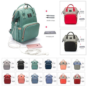 Diaper Bag Backpack USB Earphone Interface Nappy Bag Waterproof Maternity Travel Designer Nursing Bag Baby Care Stroller Bag