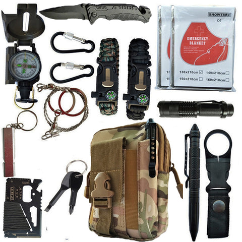 16 in 1 Outdoor survival kit Set Camping Travel Supplies Tactical Multifunction First aid SOS EDC Emergency for Wilderness tools