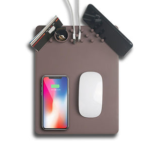 New Arrival Creative Qi Wireless Charger Mouse Pad Anti-slip Mat Phone Stand Desk Organizer