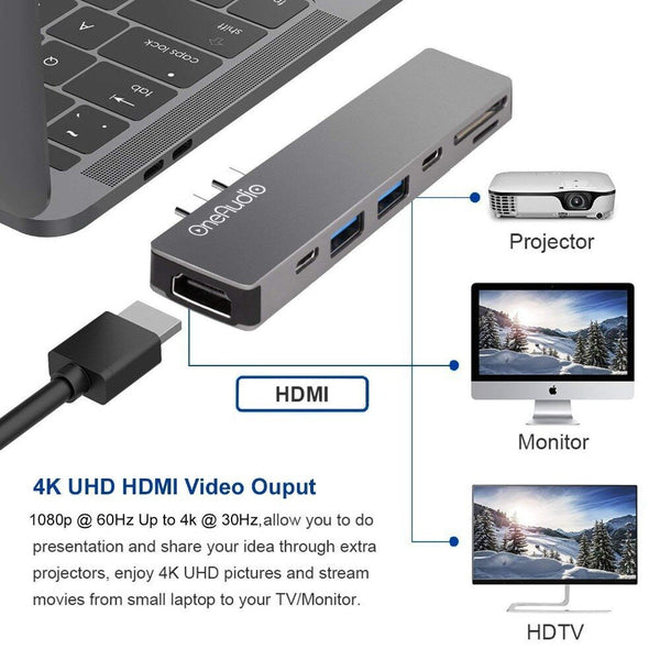 OneAudio USB C HUB Thunderbolt 3 Type C Adapter USB-C with 4K HDMI PD 2 USB 3.0 Micro SD TF Card Reader for Macbook Pro 13 15