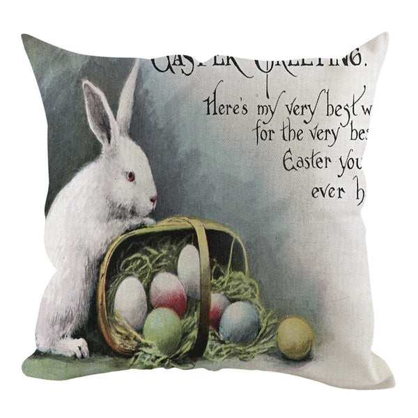 Easter Square Rabbit Cushion Cover