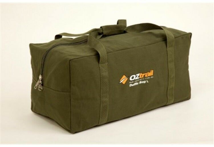 OZTRAIL CANVAS DUFFLE BAG X-LARGE HEAVY DUTY GREEN CARRY CAMPING OUTDOOR TRAVEL