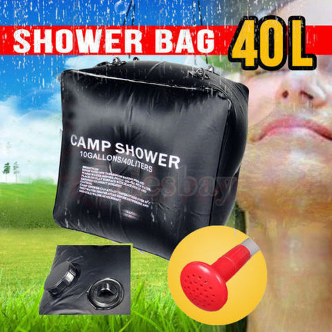 40L Outdoor Camping Solar Heated Water Pipe Camp Solar Shower Bag Portable Bag