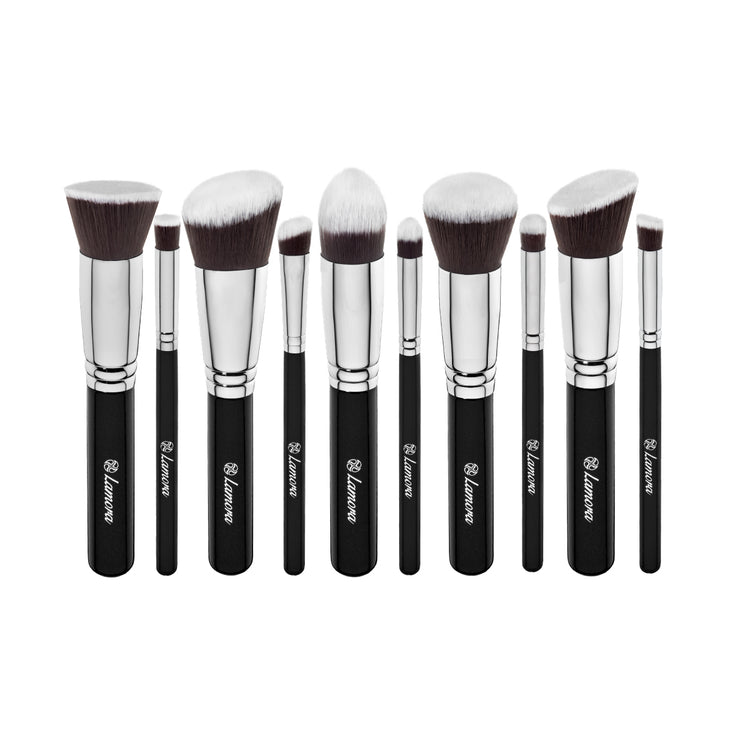 10pc Foundation Brush Set from Lamora Beauty in Black