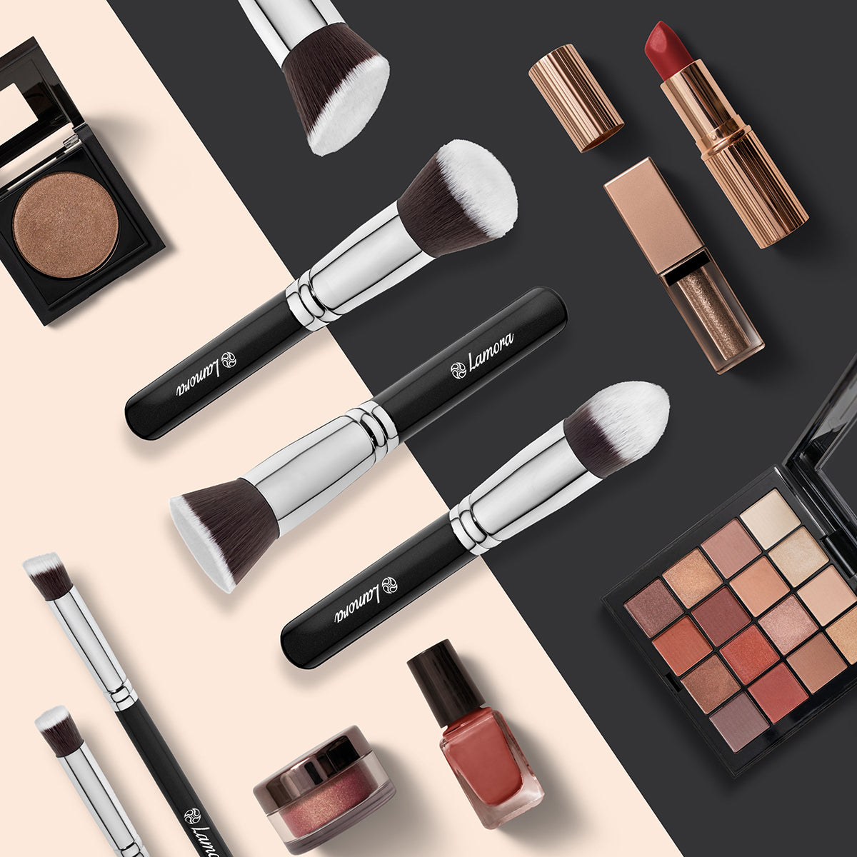 Beauty background image with makeup brushes and cosmetic sets