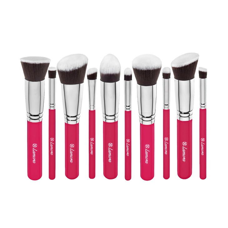 10pc Foundation Brush Set from Lamora Beauty in Pink