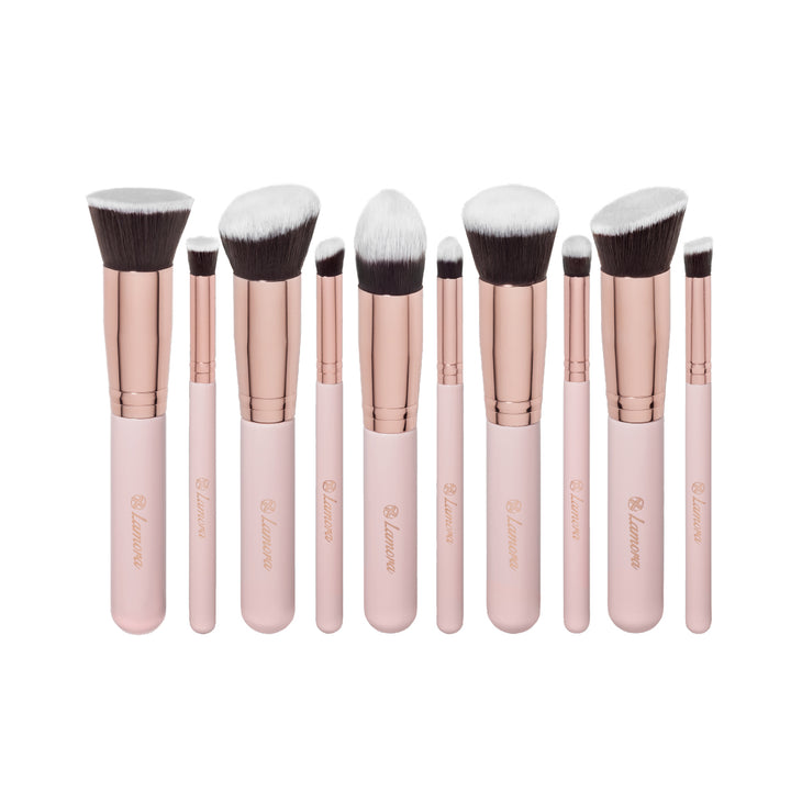 10pc Foundation Brush Set from Lamora Beauty in Rose and Gold