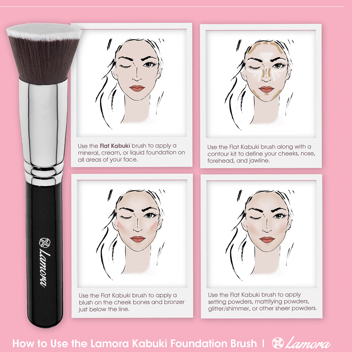 Tutorial explaining how to use a foundation brush in four different ways