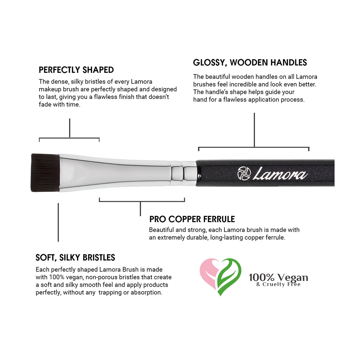Important features of a quality makeup brush used to shape and color the eyebrow