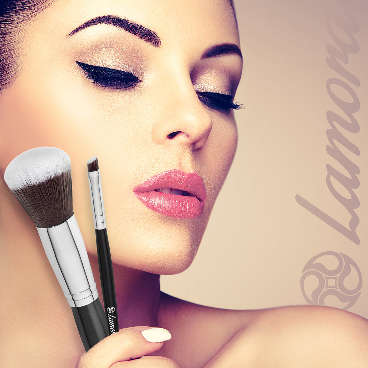 Beautiful woman holding a blush brush and tapered precision brush
