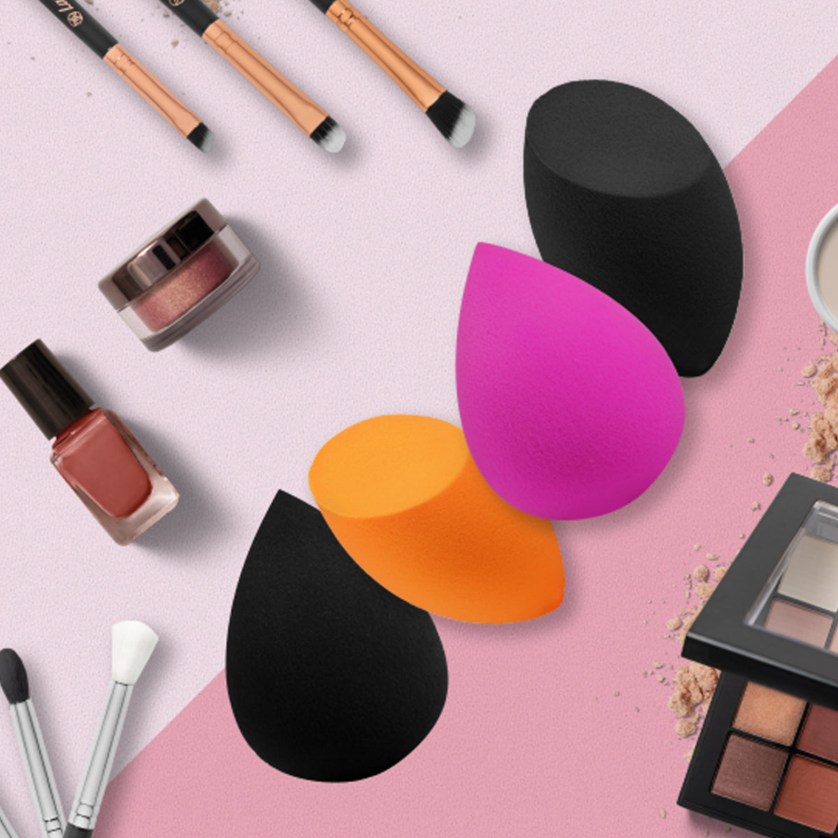 Beauty background image with beauty blenders and cosmetic sets