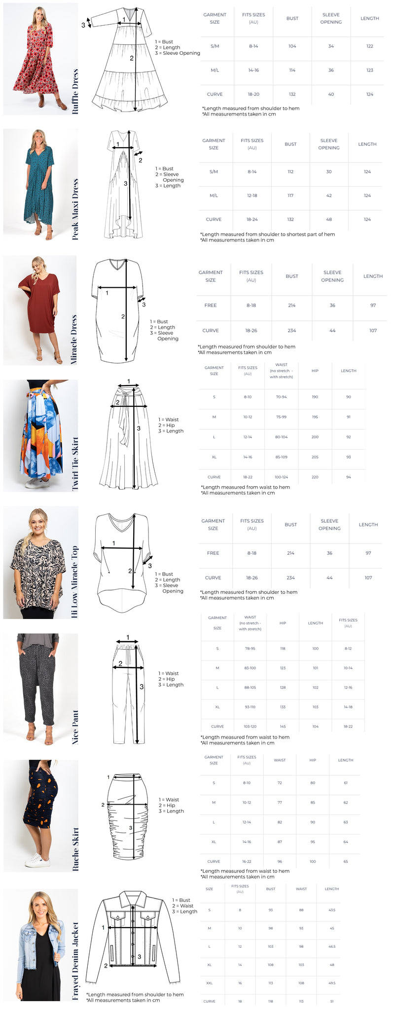 size and fit measurement guide womens fashion