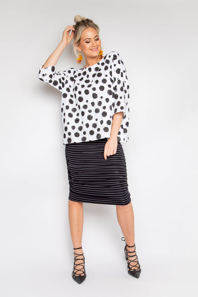 Ruche Skirt in Black/White Pinstripe