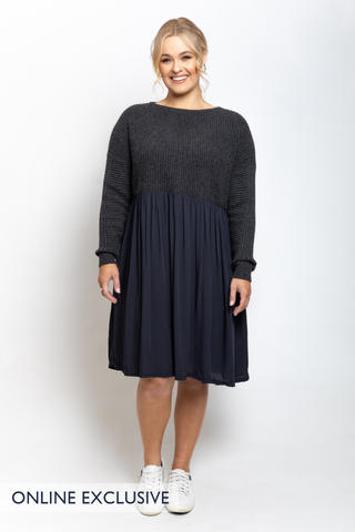 Away Knit Dress in Charcoal
