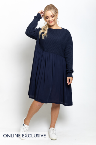 Away Knit Dress in French Navy