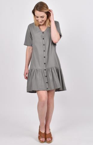 Button Down Dress in Khaki Green