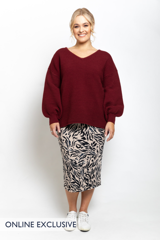 Billow Knit Top in Burgundy