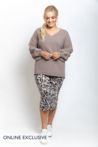 Billow Knit Top in Winter Sand