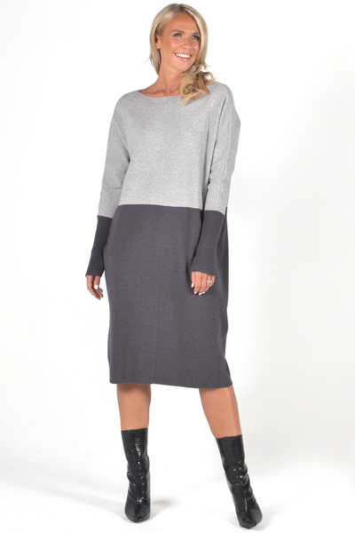 Block Knit Dress in Stone/Charcoal