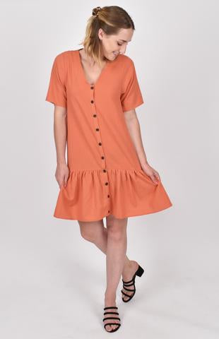 Button Down Dress in Cayenne