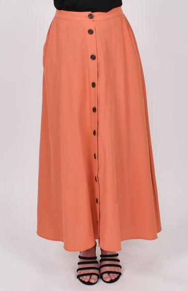 Button Down Skirt in Cayenne