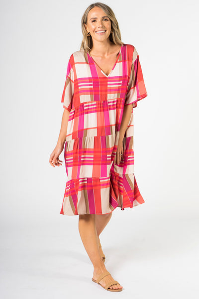 Chic Dress in Pink Check