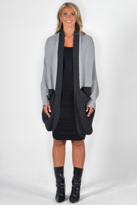Cosy Block Ribbed Cardigan in Charcoal/Stone