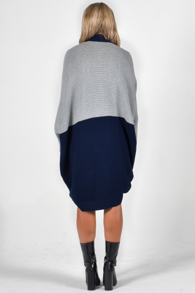 Cosy Block Ribbed Cardigan in Navy/Stone