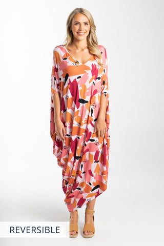 Drape Dress in Peach Splash