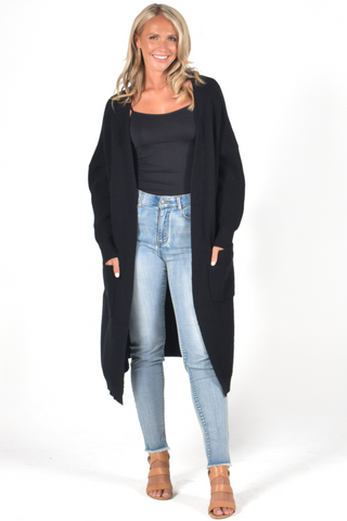 Dreamer Long Line Cardigan in Black