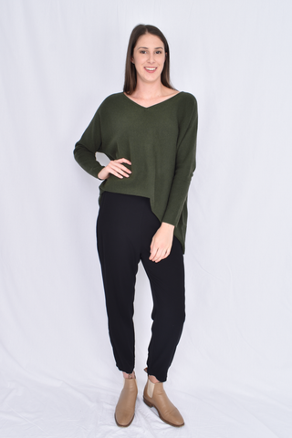 Everyday Knit Top in Forest Green