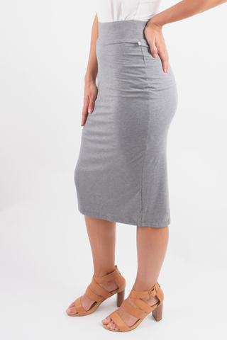 Everyday Midi Skirt in Marle Grey