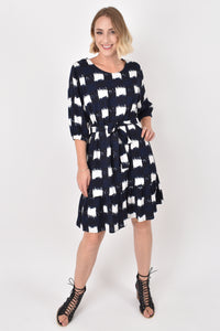 Flare Dress in Navy Check